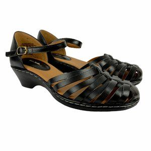 Thom McAn Leather Sandals Black Ankle Strap Wedge